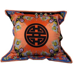 Red, Blue, Orange, Lilac, Green and Yellow Versace Silk Scarf Upholstered Pillow