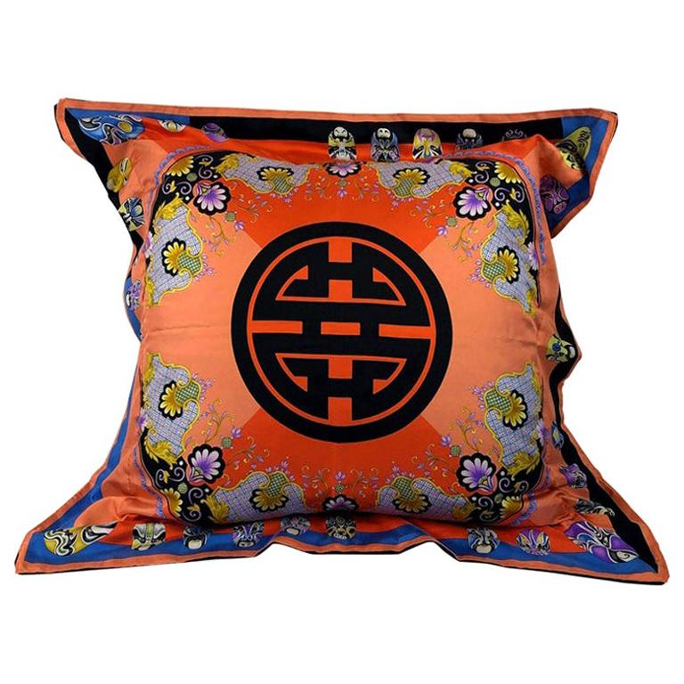 Red, Blue, Orange, Lilac, Green and Yellow Versace Silk Scarf Upholstered Pillow For Sale
