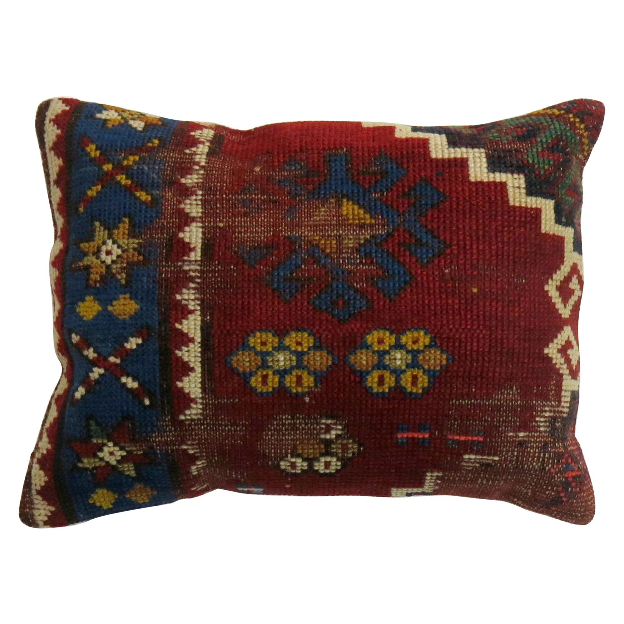 Red Blue Tribal Worn Antique Kazak Rug Pillow