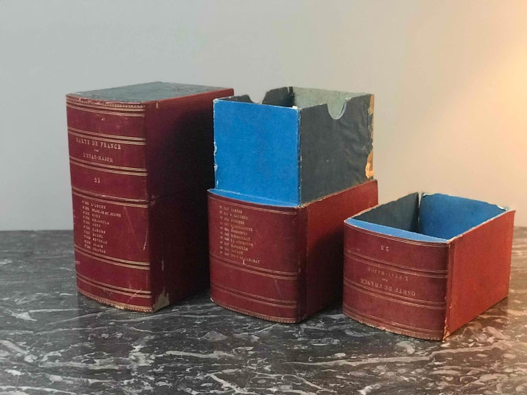 English Red Book Boxes with Blue Interior For Sale