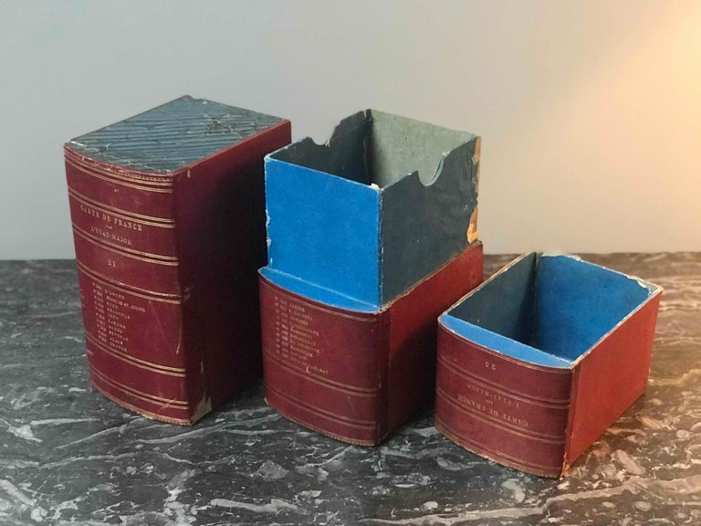Red Book Boxes with Blue Interior In Good Condition For Sale In Los Angeles, CA