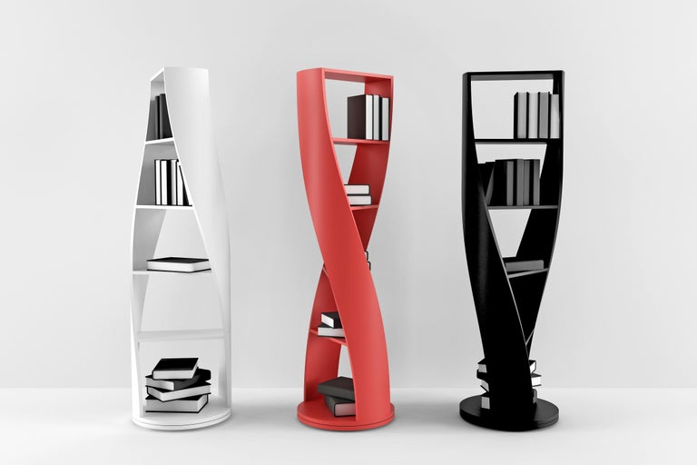Plywood Red Bookcase and Storage System: MYDNA Collection by Joel Escalona For Sale