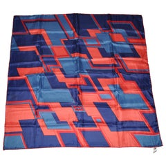Red Border with Multicolor Abstract ZigZag Scarf