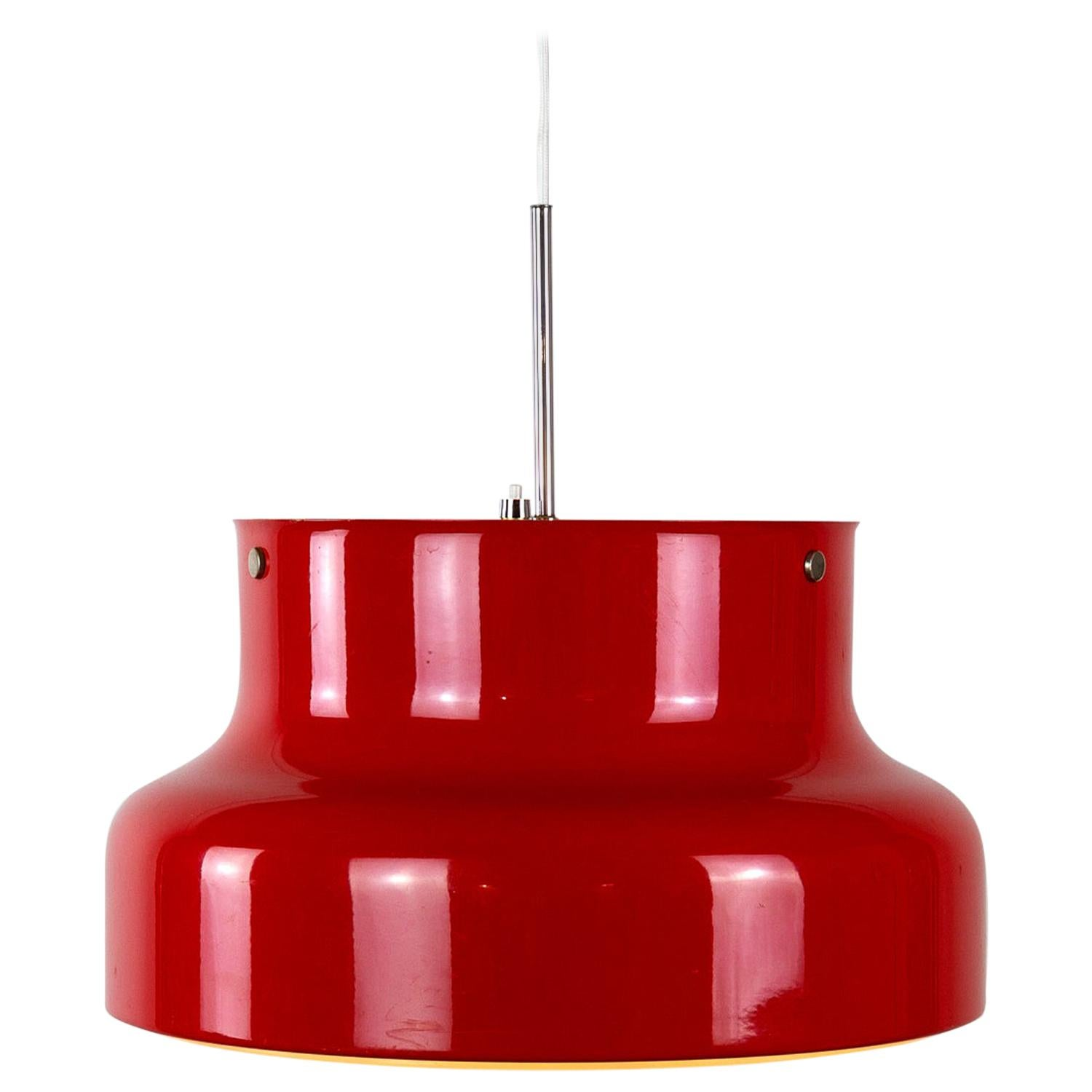 Red Bumling Pendant by Anders Pehrson for Ateljé Lyktan, Sweden, 1960s