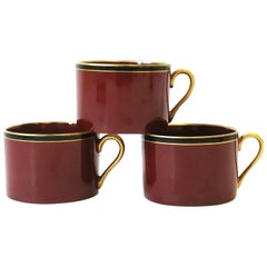 Red Burgundy, Gold and Black Porcelain Coffee or Tea Cups, Set of 3, circa 1970s