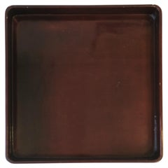 Red Burgundy Lacquer Serving Tray by Designer Rae Kasian, Square