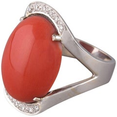 Red Cabochon Coral Oval Diamonds 18 Karat White Gold Ring