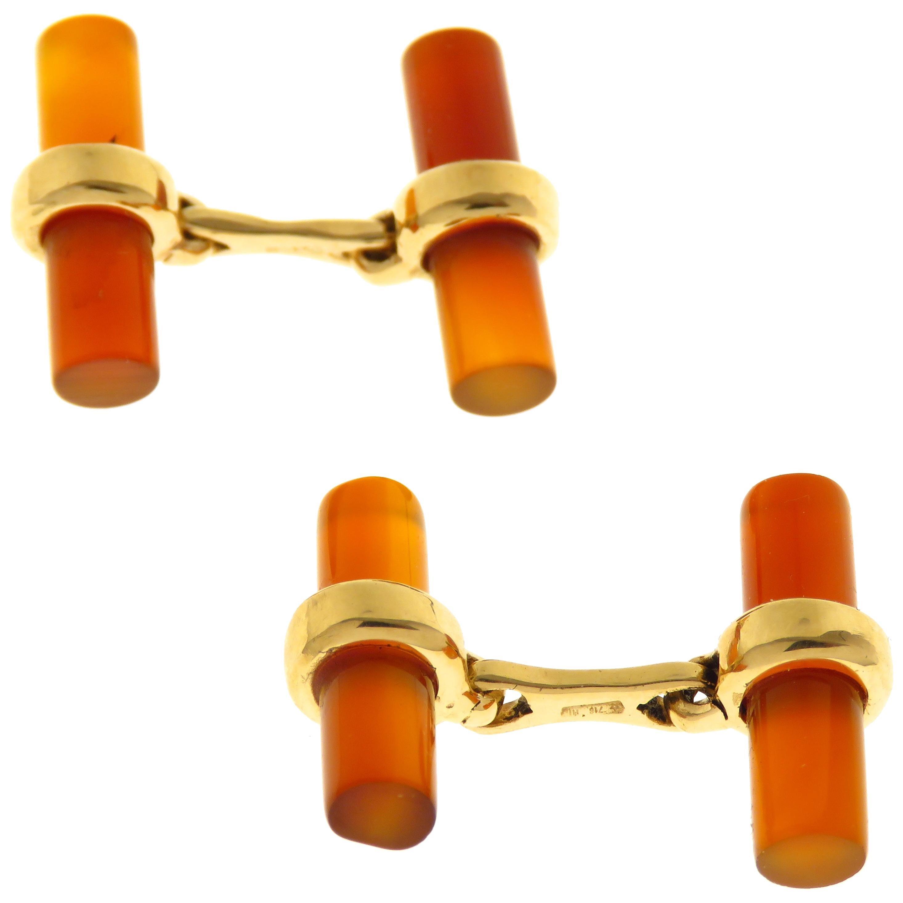 Red Carnelian 9 Karat Rose Gold Bar Cufflinks Handcrafted in Italy