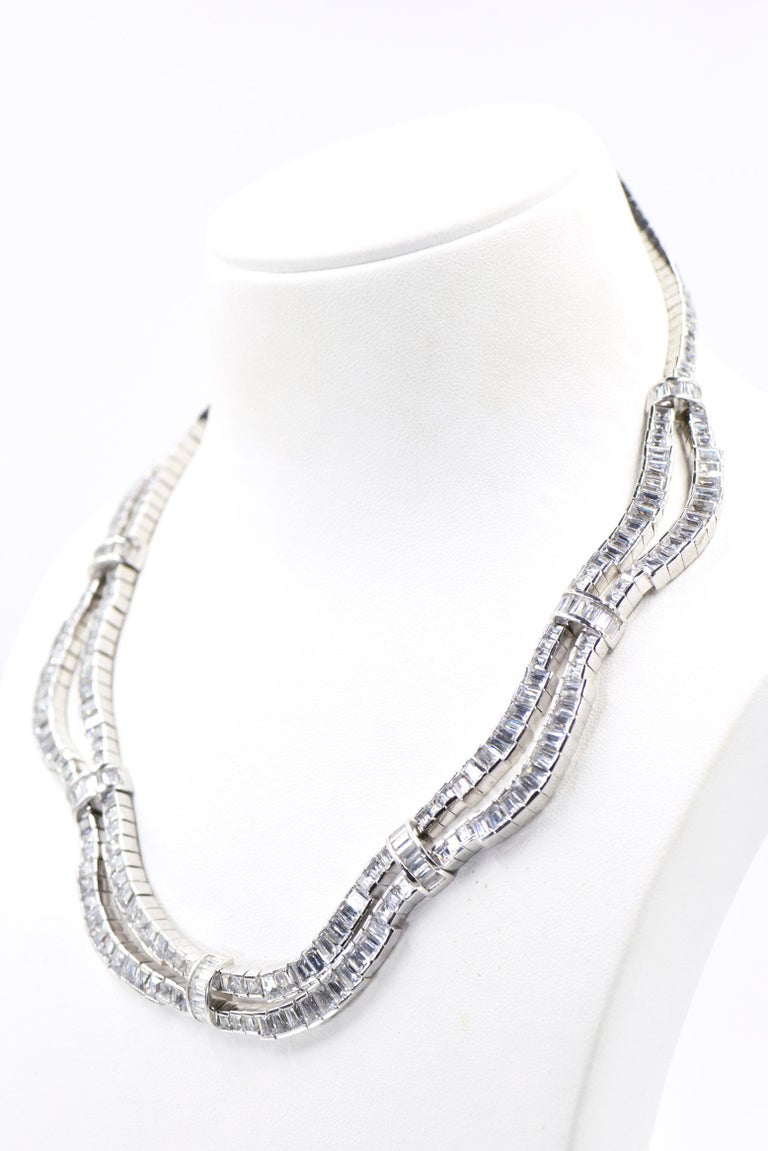 Red Carpet Drape Emerald Cut CZ Sterling Silver Statement or Bridal Necklace  For Sale 6