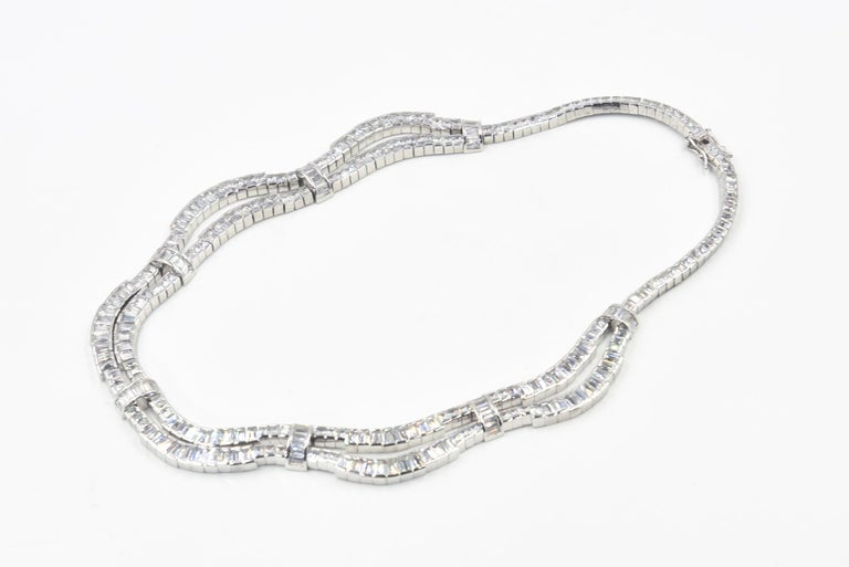 Red Carpet Drape Emerald Cut CZ Sterling Silver Statement or Bridal Necklace  For Sale 1