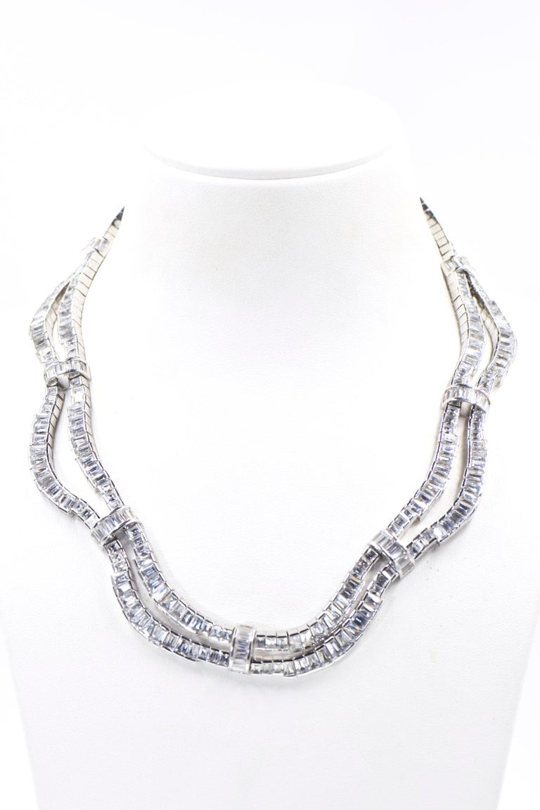 Red Carpet Drape Emerald Cut CZ Sterling Silver Statement or Bridal Necklace  For Sale 5