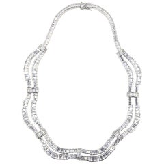 Red Carpet Drape Emerald Cut CZ Sterling Silver Statement or Bridal Necklace
