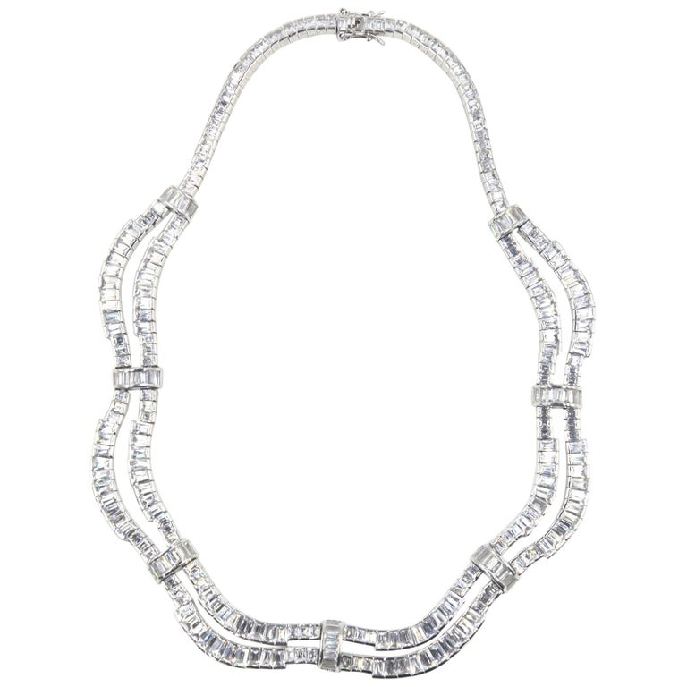 Red Carpet Drape Emerald Cut CZ Sterling Silver Statement or Bridal Necklace  For Sale