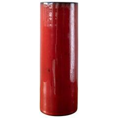 Red Ceramic Cylinder Vase, 1950s