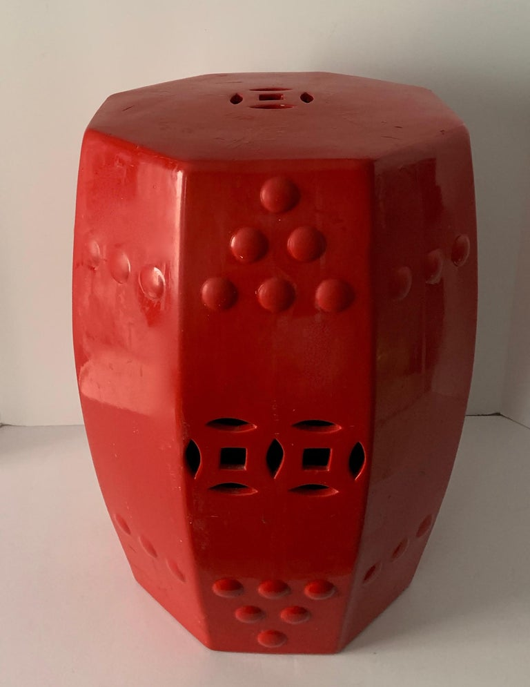 Red Ceramic Garden Stool Side Table For Sale 6