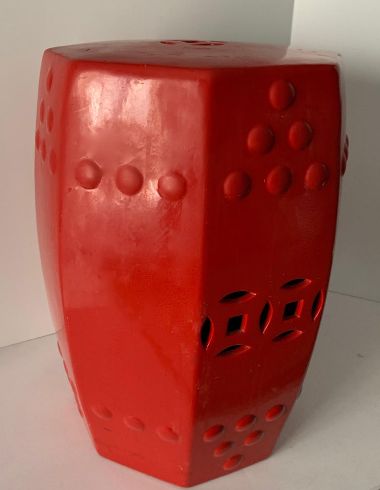 Red Ceramic Garden Stool Side Table For Sale 7
