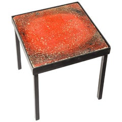Red Ceramic Low Table or Sofa Table circa 1950 French Production