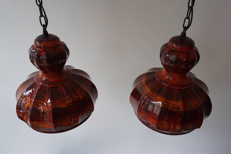 Mid-Century Modern Red Ceramic Pendant Lights For Sale