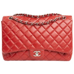 Red Chanel Jumbo Single Flap Bag