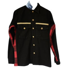 Re-purposed Jacket Black Military Red Checker Wool Gold Buttons J Dauphin