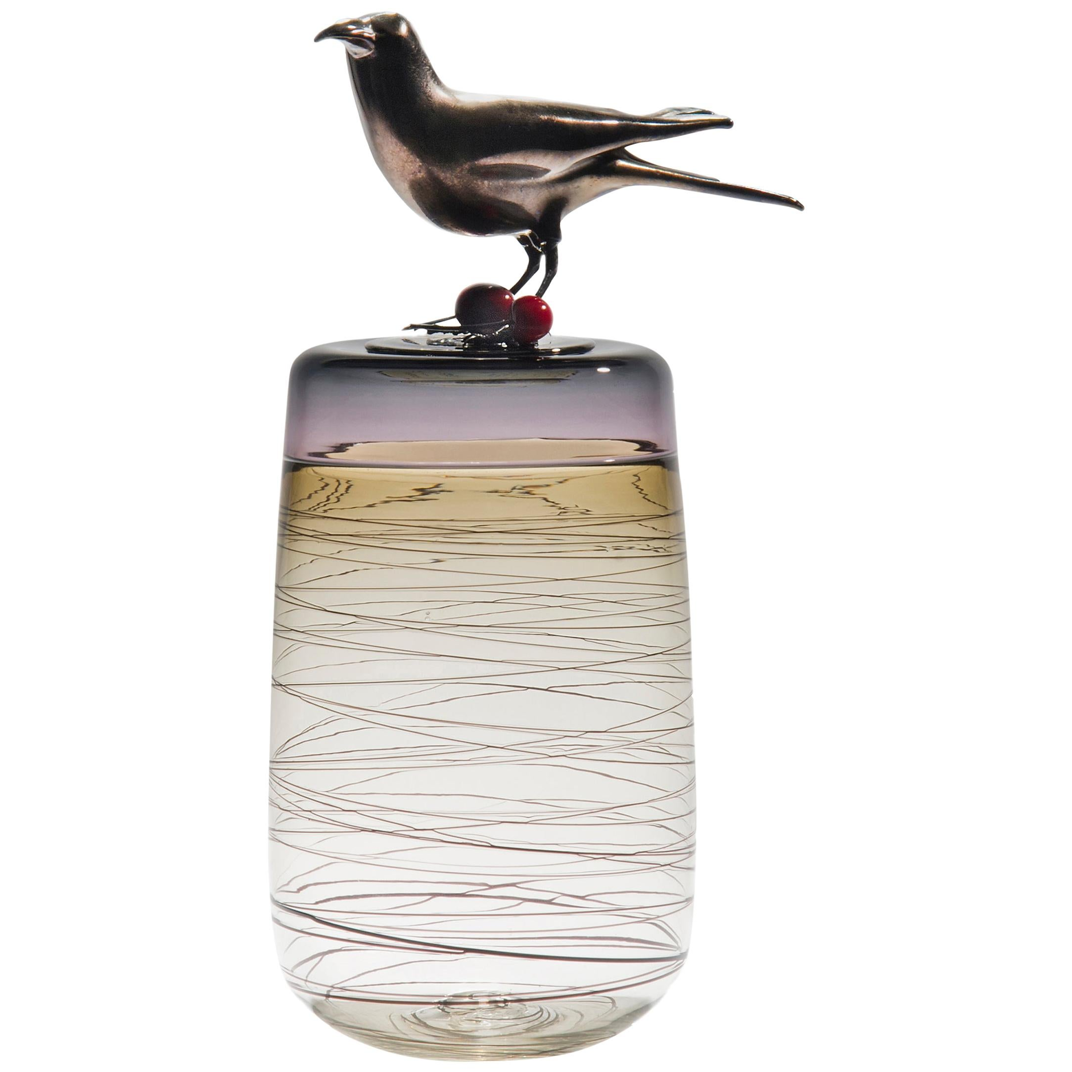 Red Cherries, a Unique Glass Sculptural Vase with Black Crow by Julie Johnson