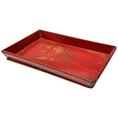 Red Chinese Antique Hand Painted Wood Serving Tray
