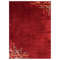 Red Chinese Art Deco Carpet