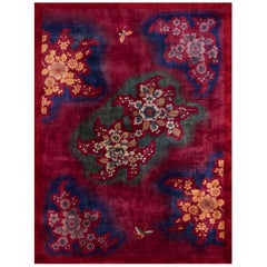 Red Chinese Art Deco Rug