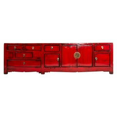 Red Chinese Kwang Chest with Four Doors and Six Drawers