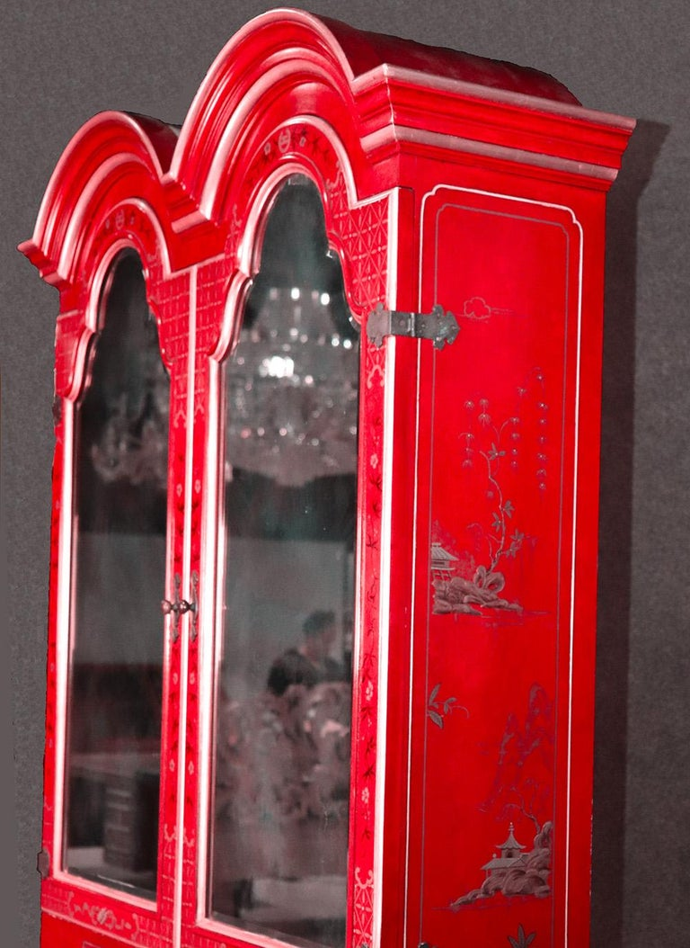 Hand-Painted Red Chinoiserie Japanned Painted Lacquer Tombstone Mirrored Secretary Desk For Sale