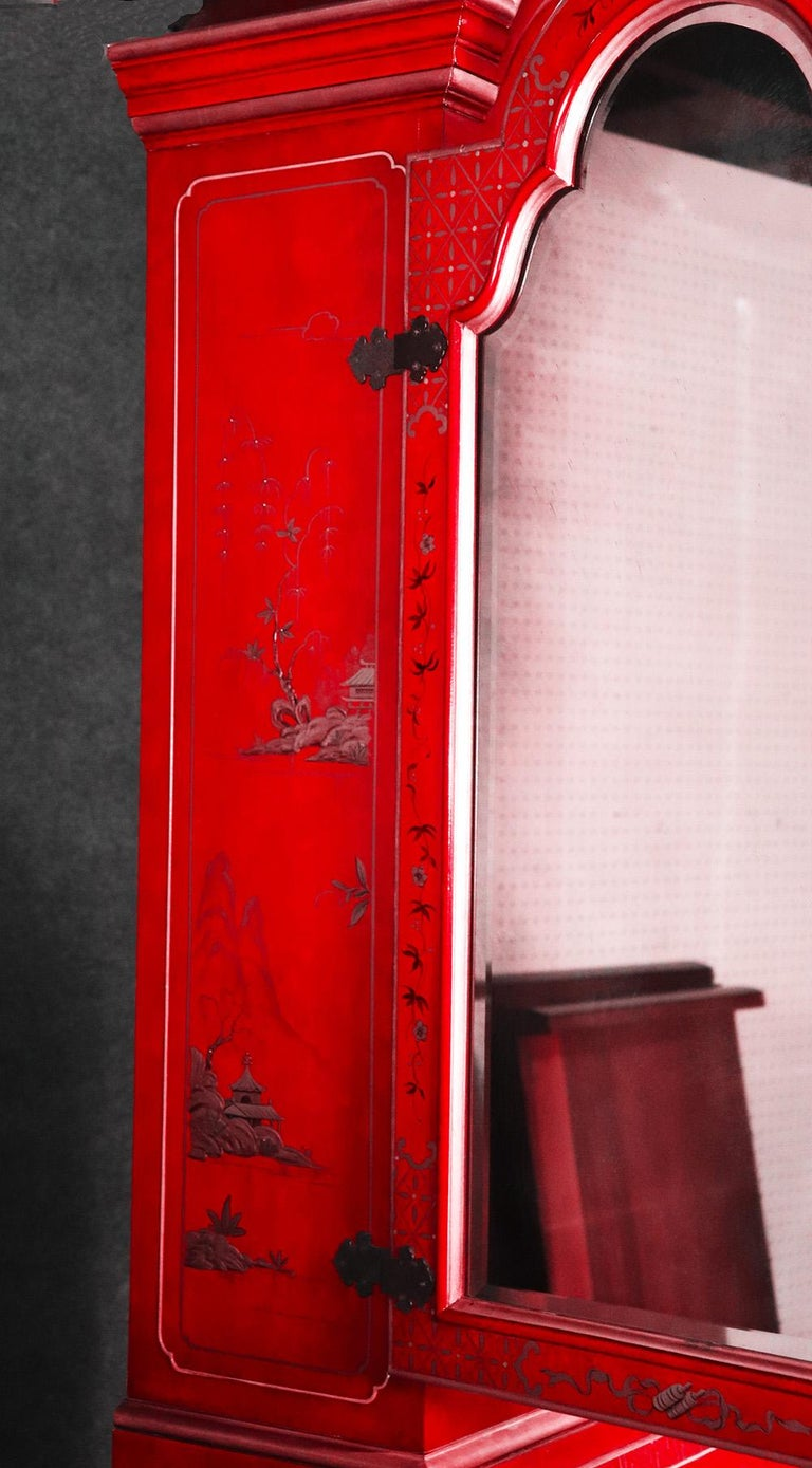 Hardwood Red Chinoiserie Japanned Painted Lacquer Tombstone Mirrored Secretary Desk For Sale