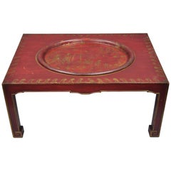 Red Chinoiserie Oriental Coffee Table with Removable Tole Metal Serving Tray