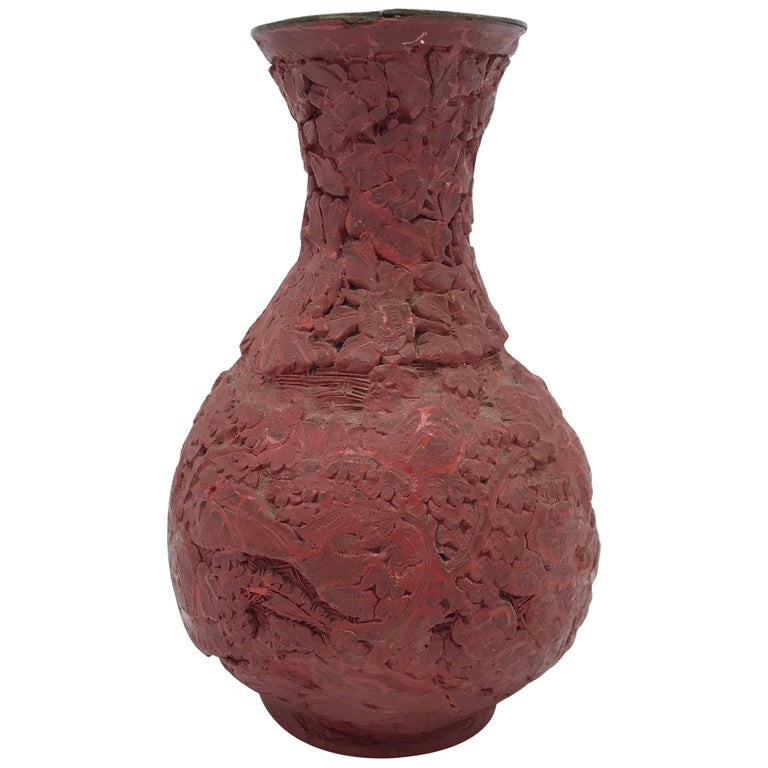 Red Cinnabar Vase with Floral Motif, 18th-19th Century For Sale
