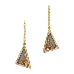 Red Clear Scaline Diamond Slice Earrings with Diamond Halo in 18k Yellow Gold