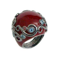 Red Color Enamel Round Silver Ring with Rodolite and Blue Topaz