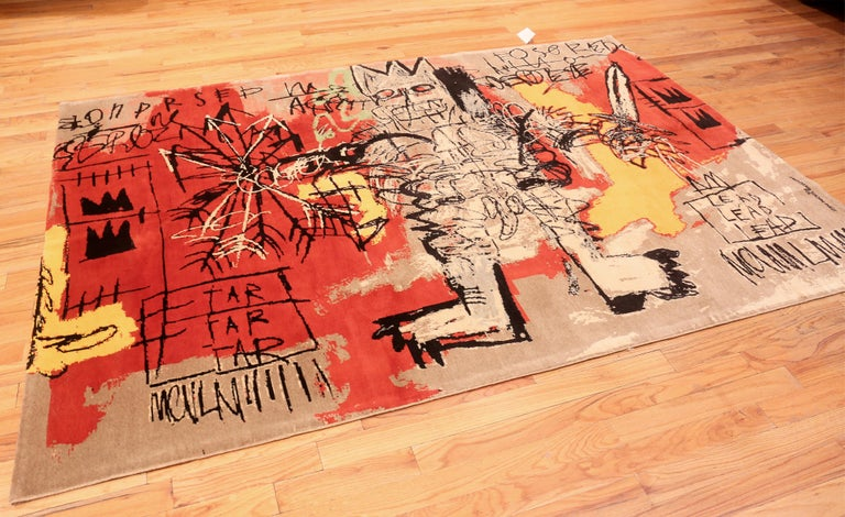 Afghan Red Color Modern Basquiat Inspired Art Area Rug. 6 ft 7 in x 9 ft 6 in  For Sale