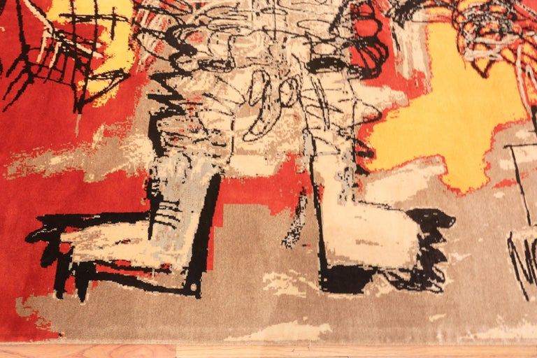 Hand-Knotted Red Color Modern Basquiat Inspired Art Area Rug. 6 ft 7 in x 9 ft 6 in  For Sale