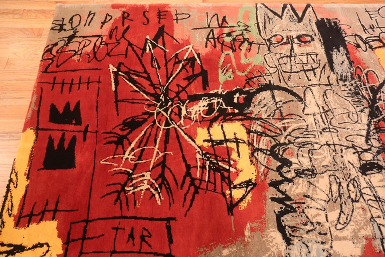Red Color Modern Basquiat Inspired Art Area Rug. 6 ft 7 in x 9 ft 6 in  In Excellent Condition For Sale In New York, NY