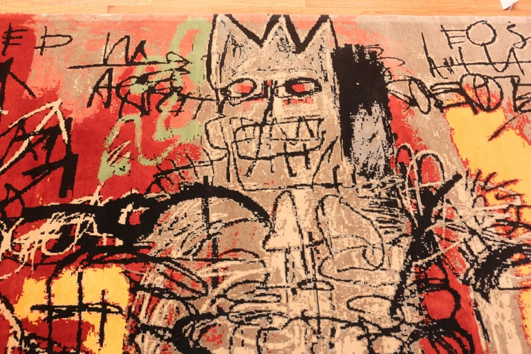 Wool Red Color Modern Basquiat Inspired Art Area Rug. 6 ft 7 in x 9 ft 6 in  For Sale