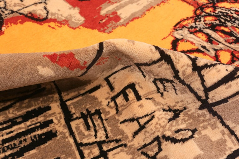 Red Color Modern Basquiat Inspired Art Area Rug. 6 ft 7 in x 9 ft 6 in  For Sale 1