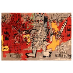 Red Color Modern Basquiat Inspired Art Area Rug. 6 ft 7 in x 9 ft 6 in