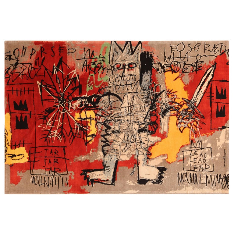 Red Color Modern Basquiat Inspired Art Area Rug. 6 ft 7 in x 9 ft 6 in  For Sale