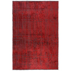 Red Contemporary Design Modernistic Luxe Soft Semi-Plush Rug