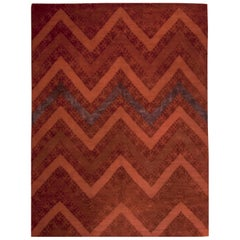 Red Contemporary Tibetan Zig-Zag Rug