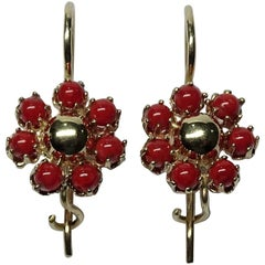Red Coral 14 Karat Yellow Earrings