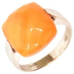 Red Coral 18 Karat White Gold Ring Handcrafted in Italy by Botta Gioielli