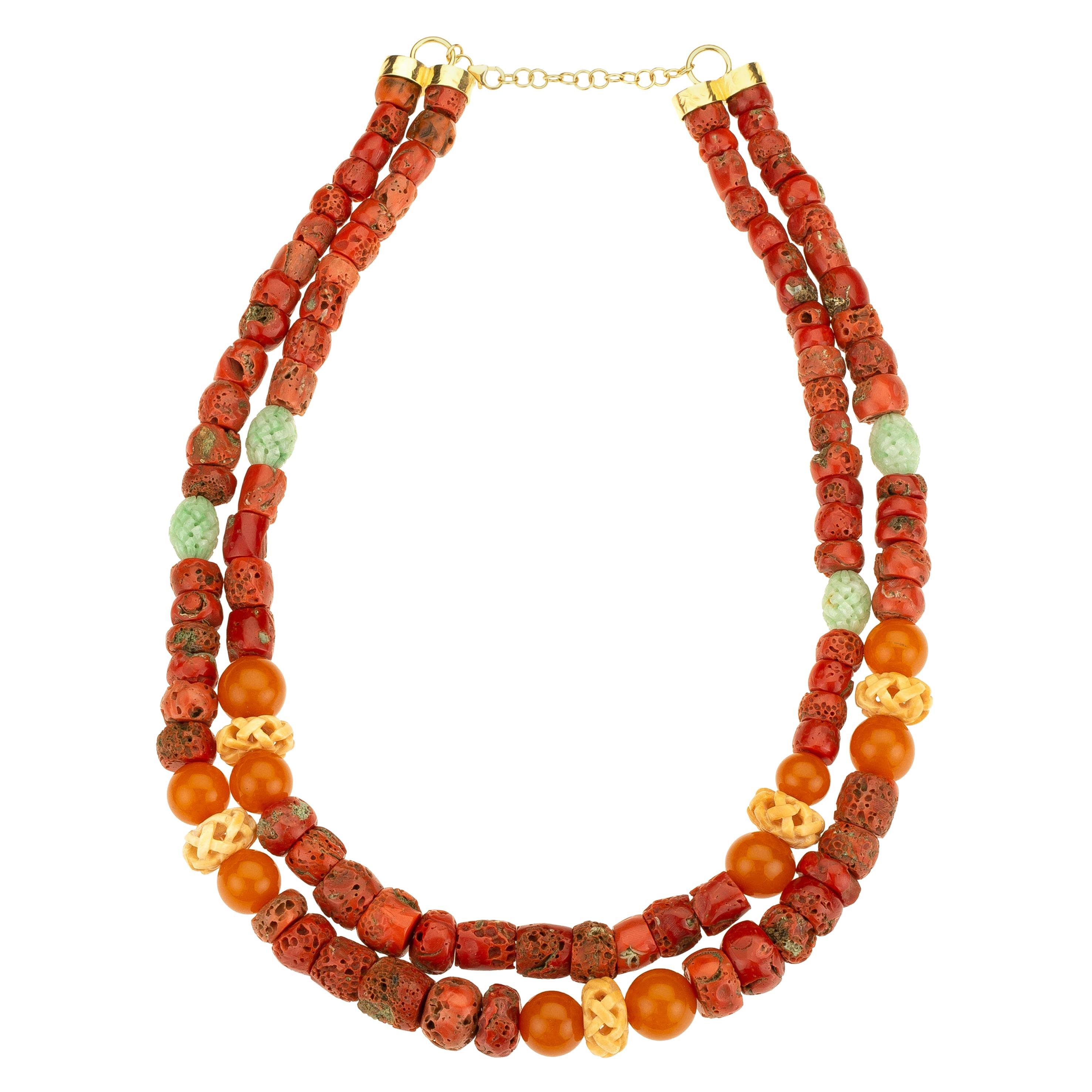 Red Coral Amber Jade 18 Karat Gold Necklace