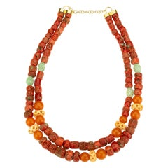 Red Coral Amber Jade 18 Karat Gold Necklace