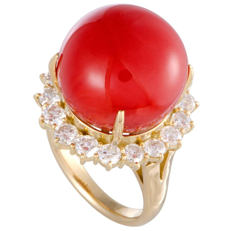 Red Coral and Diamond Gold Cocktail Ring