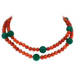 Red Coral and Green Onyx Necklace